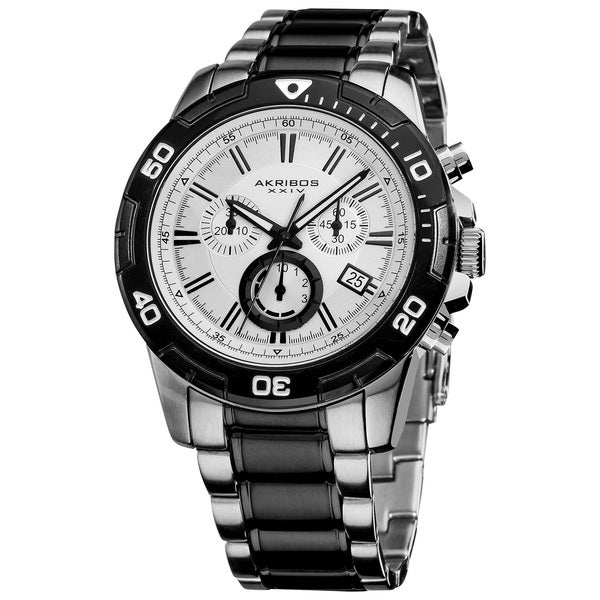 Black-and-Silver Akribos XXIV Men's Stainless-Steel Swiss Quartz Chronograph Divers Watch