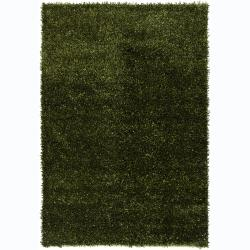 Hand-woven Alexa Green/ Black Shag Rug (2' x 3')