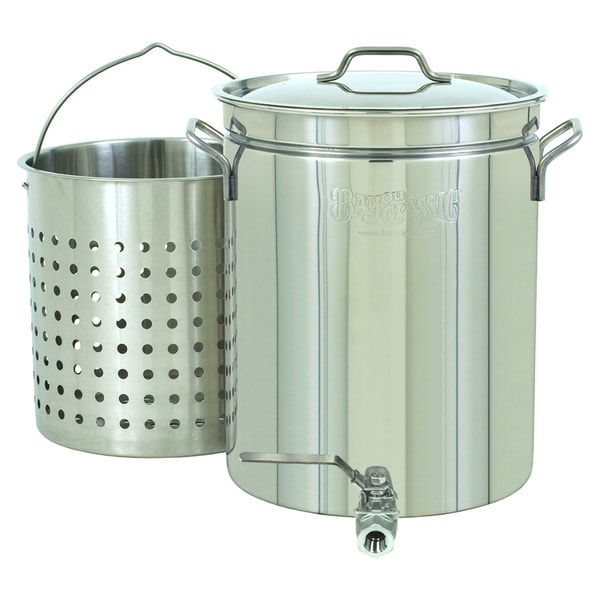 Bayou Classic Stainless Steel 10-Gallon Spigot Pot/Basket
