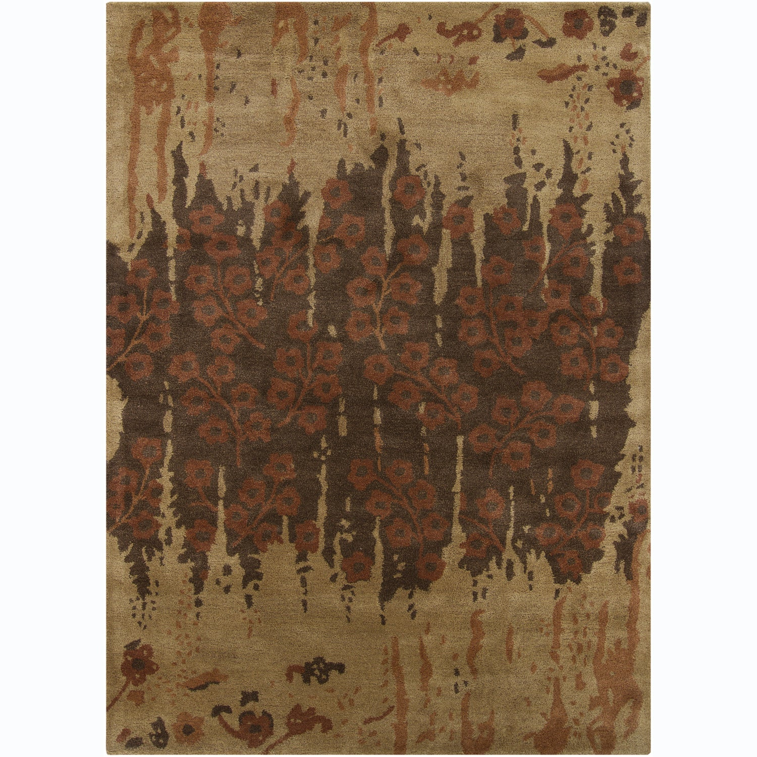 Artist's Loom Hand-tufted Transitional Floral Wool Rug - 7' x 10'