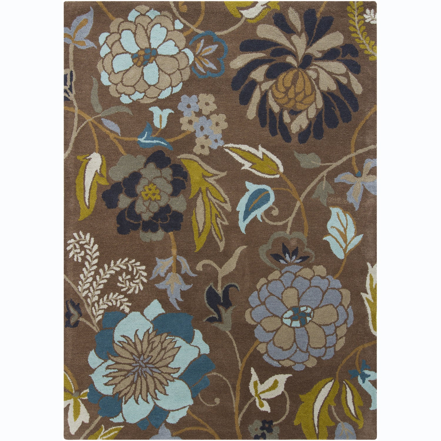 Woolrich Blue And White Floral Rug: Hand-Tufted Mani Brown/Blue Floral Wool Rug (7' X 10