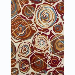 Artist's Loom Hand-tufted Contemporary Abstract Wool Rug (7'x10') - 7' x 10' - Thumbnail 0