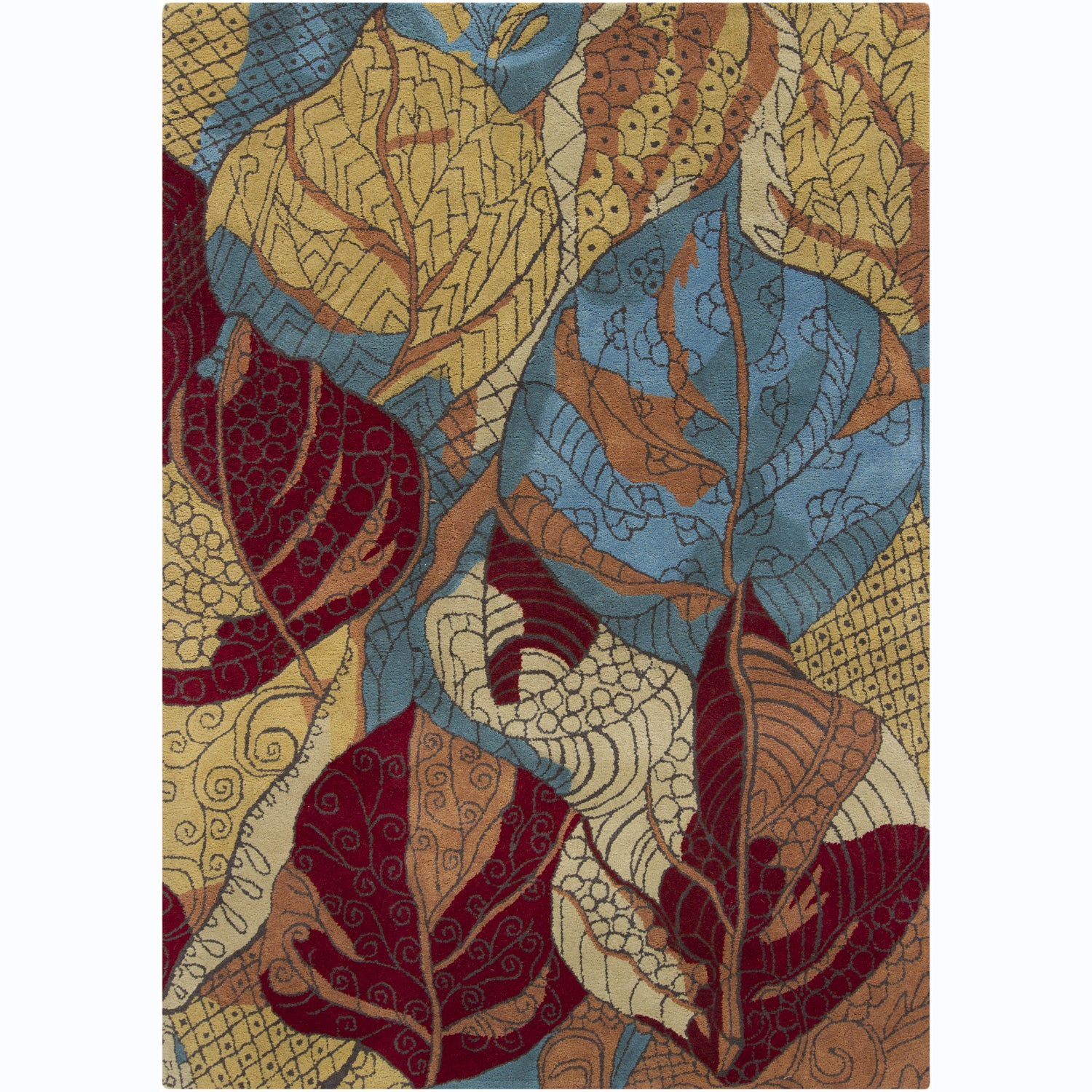 Artist's Loom Hand-tufted Transitional Floral Wool Rug (5'x7') - multi - 5' x 7'