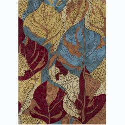 Artist's Loom Hand-tufted Transitional Floral Wool Rug (5'x7') - multi - 5' x 7' - Thumbnail 0