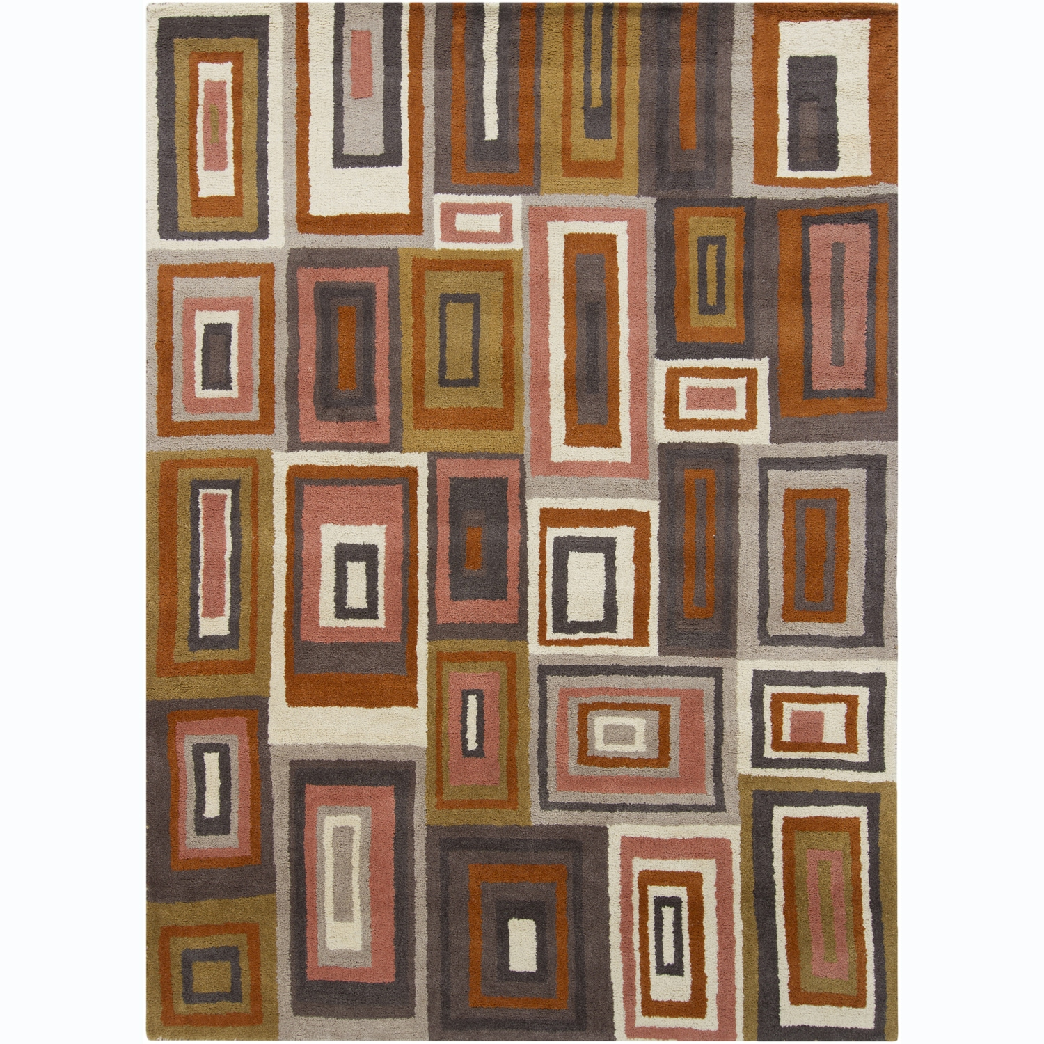 Artist's Loom Hand-tufted Contemporary Geometric Wool Rug (5'x7')