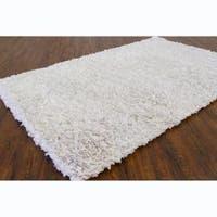 Hand-woven Safir White Shag Rug (3' Round) - 3'