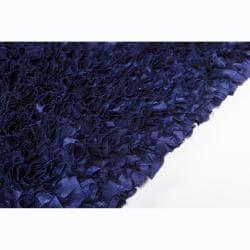 Hand-woven Safir Blue Shag Rug (3' Round) - Thumbnail 2