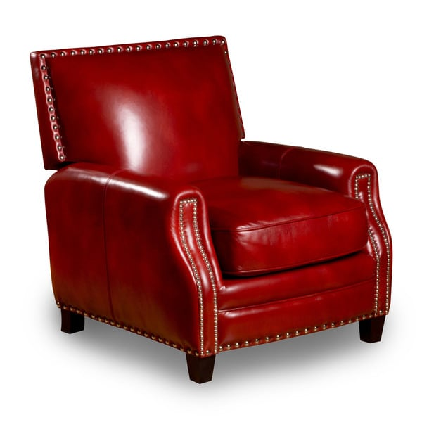 Madrid Leather Press Back Chair in Art Red