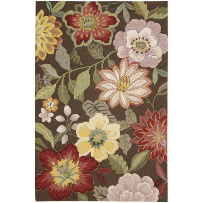 "Nourison Hand-Hooked Fantasy Floral Brown Rug (2'6"" x 4')"