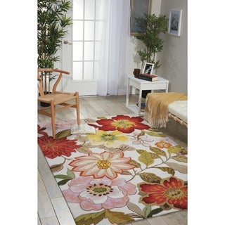Casual Nourison Hand-Hooked Fantasy Ivory Rug (2'6 x 4')