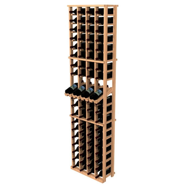 Traditional Redwood Four Column Wine Rack with Display