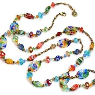 Sweet Romance Millefiori Glass Long Rainbow Bead Necklace