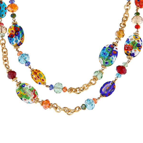 Sweet Romance Millefiori Glass Candy Rope Necklace