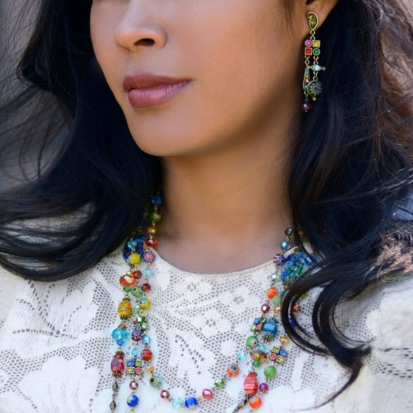 Millefiori Turquoise Oval Beaded Sterling Silver Necklace and Matching Earrings