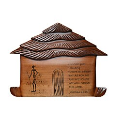 Hand-crafted 'Joshua Verse' African Hut Wood Plaque (Ghana)