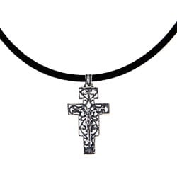 Sterling Silver Vintage Design Antique Finish Crucifix Pendant