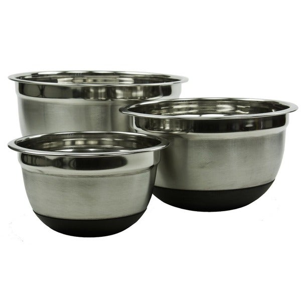 Restaurant-style Stainless Steel with Non-skid Silicone Rubber 3-piece Mixing Bowl Set