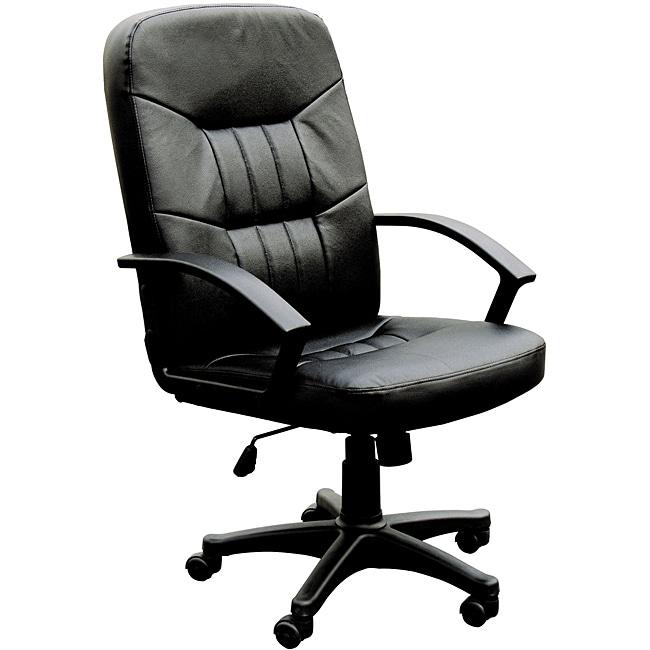 Jason Pneumatic Lift Black Split Leather Match Office Chair