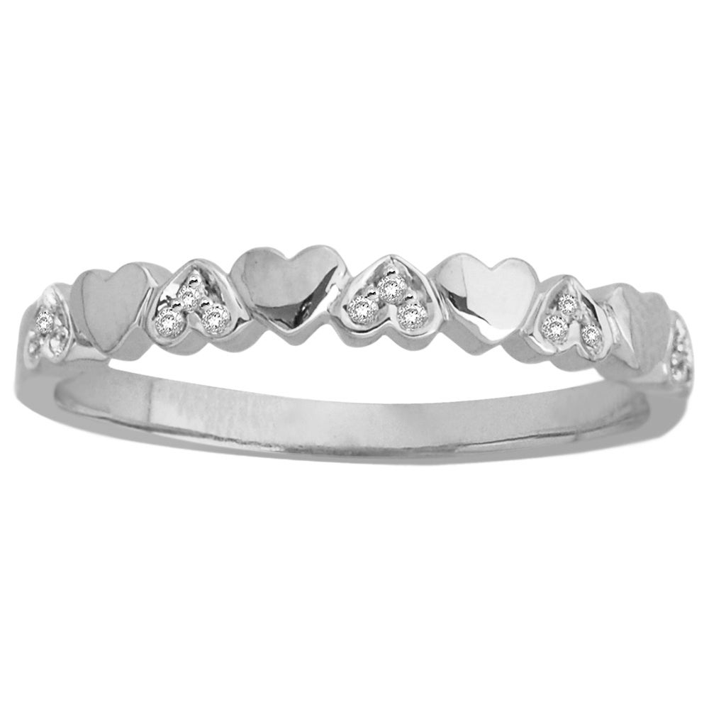 14k White Gold Heart Band