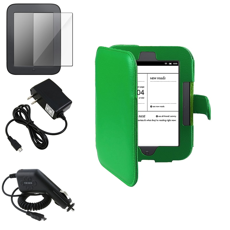 INSTEN Leather Case Cover/ Screen Protector/ Chargers for Barnes & Noble Nook 2