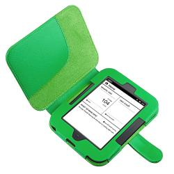 INSTEN Green Leather Case Cover/ Travel/ Car Charger for Barnes & Noble Nook 2 - Thumbnail 1