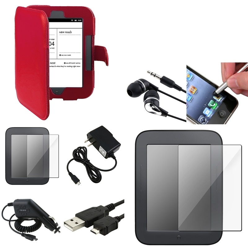 Red Leather Case/Screen Protectors/Chargers/Accessories for Barnes & Noble Nook 2 (8-Piece Set)