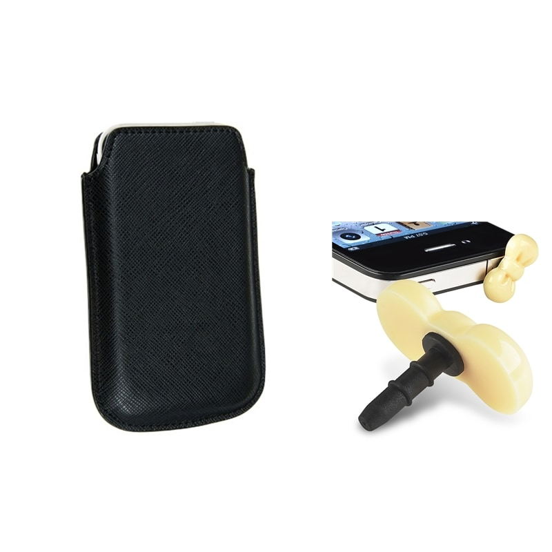 Leather Pouch/ Yellow Ribbon Headset Dust Cap for Apple iPhone 4/ 4S