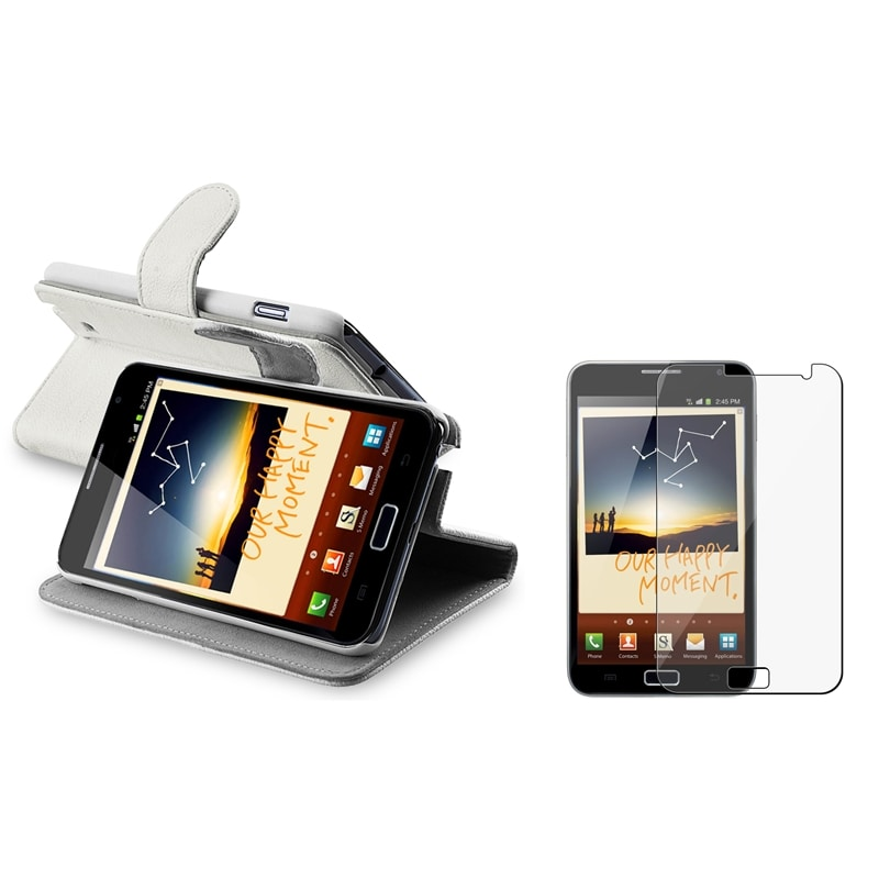 White Leather Case Stand/ LCD Protector for Samsung Galaxy Note N7000
