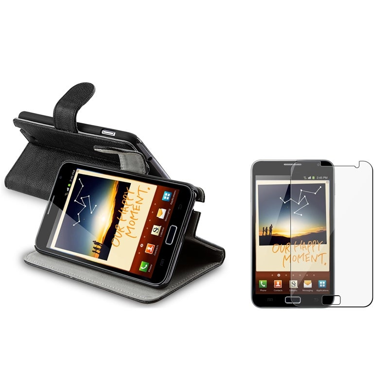 Black Leather Case Stand/ LCD Protector for Samsung Galaxy Note N7000