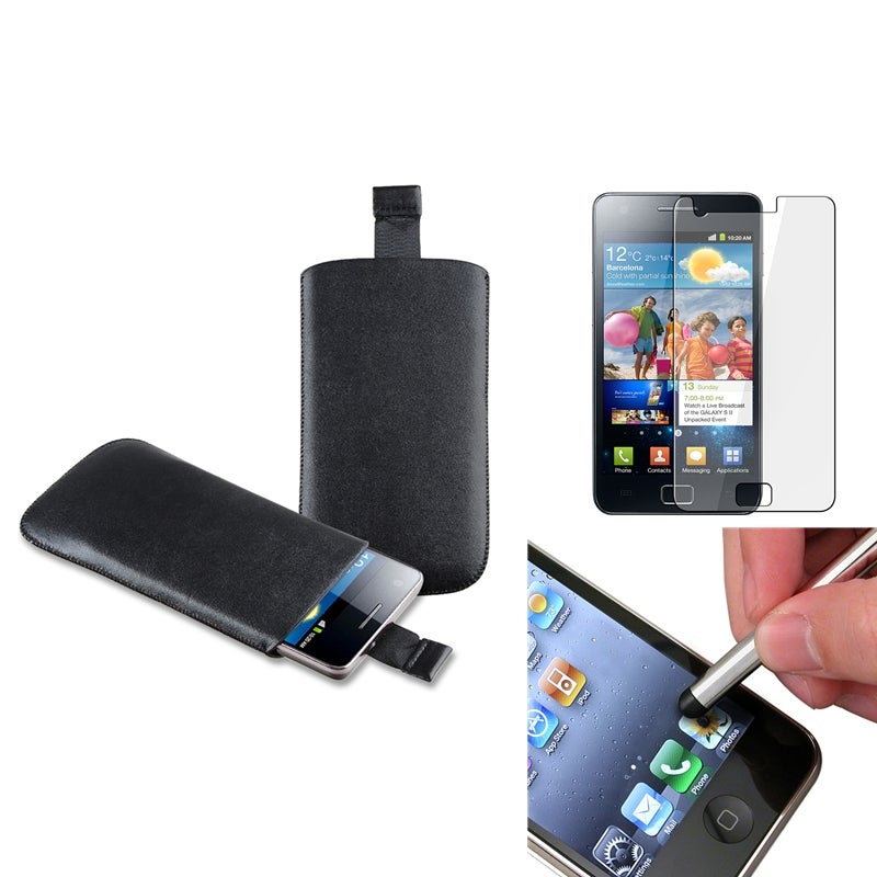 Leather Pouch/ LCD Protector/ Stylus for Samsung Galaxy S II GT-i9100