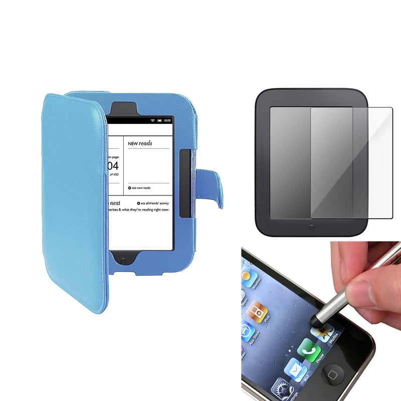 INSTEN Blue Leather Phone Case Cover/ Screen Protector/ Stylus for Barnes & Noble Nook 2