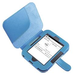 INSTEN Blue Leather Tablet Case Cover/ Travel Charger for Barnes & Noble Nook 2