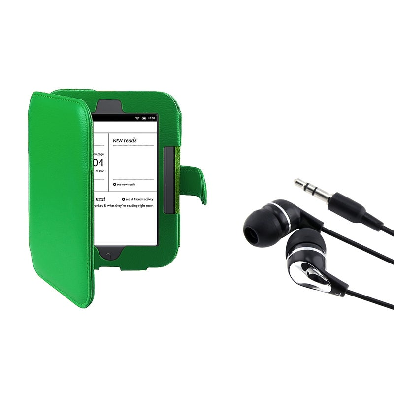 Green Leather Case/ Headset for Barnes & Noble Nook 2