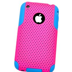 Blue/ Pink Hybrid Case/ LCD Protector for Apple iPhone 3G/ 3GS - Thumbnail 1