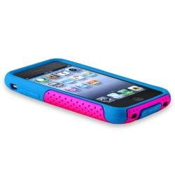 Blue/ Pink Hybrid Case/ LCD Protector for Apple iPhone 3G/ 3GS - Thumbnail 2