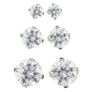 Journee Collection Sterling Silver Cubic Zirconia Solitaire Earrings (Set of 3 Pair)