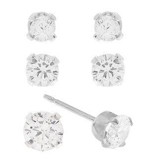 Sterling Silver Cubic Zirconia Set of 3 Stud Earrings Set