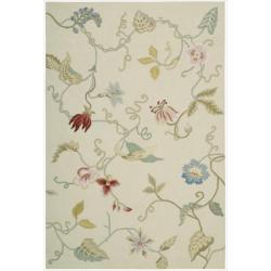 Nourison Hand-hooked Fantasy White Rug (2'6 x 4')