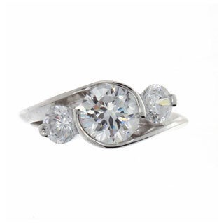 Nexte Jewelry Silvertone Swirling Three-stone CZ Ring