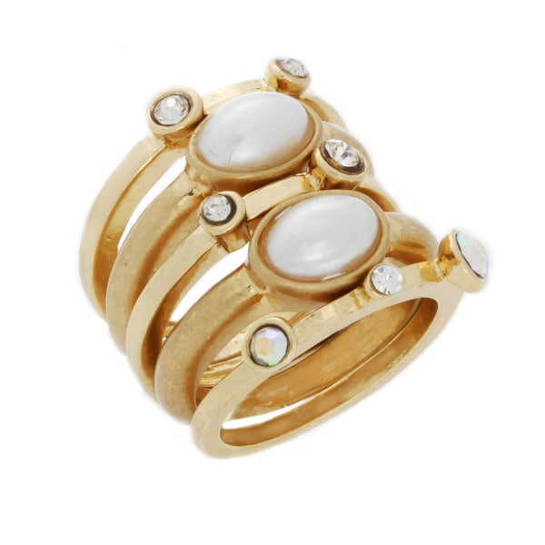 Nexte Jewelry All White Stones Five-piece Goldtone Stackable Ring Set