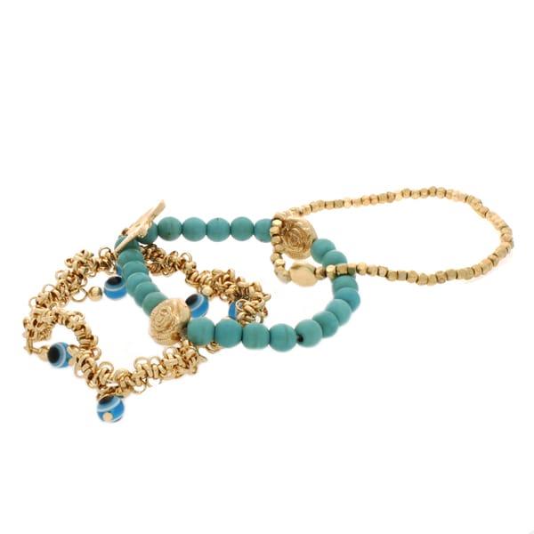 Nexte Jewelry Goldtone Turquoise and Beads Three-piece Guardian Eye Bracelet Set