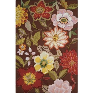 Casual Nourison Hand-Hooked Fantasy Brown Rug (1'9 x 2'9)