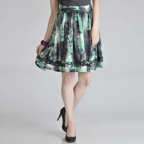 Hanna and Gracie Women's Printed Ruffle Trim Skirt