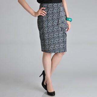 Hanna and Gracie Women's Mock Wrap Side Flounce Pencil Skirt
