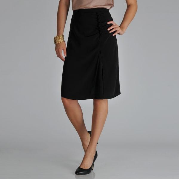 Hanna & Gracie Women's Black Inverted Pleated Skirt