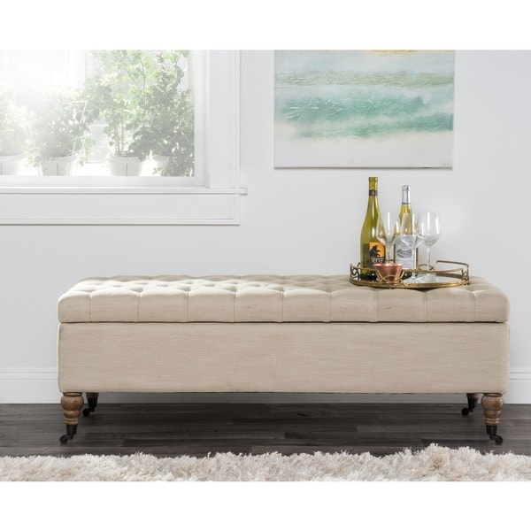 Starbury Upholstered Beige Linen Storage Bench by Kosas Home