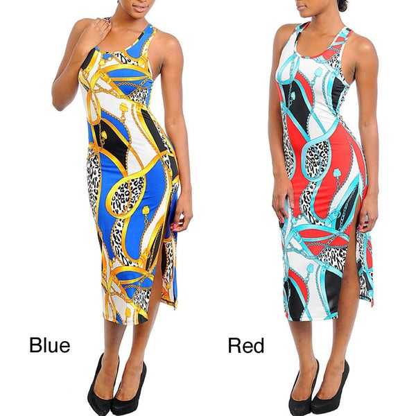 Stanzino Women's Multi-Prints Tank Dress with Criss Cross Back
