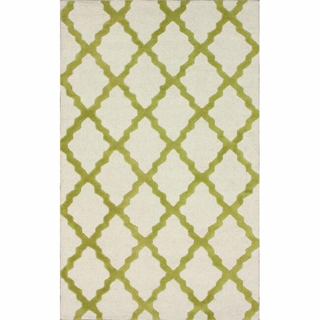 Hand-hooked Alexa Moroccan Trellis Green Wool Rug (7'6 x 9'6)