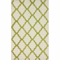 Hand-hooked Alexa Moroccan Trellis Green Wool Rug (7'6 x 9'6) - Thumbnail 0