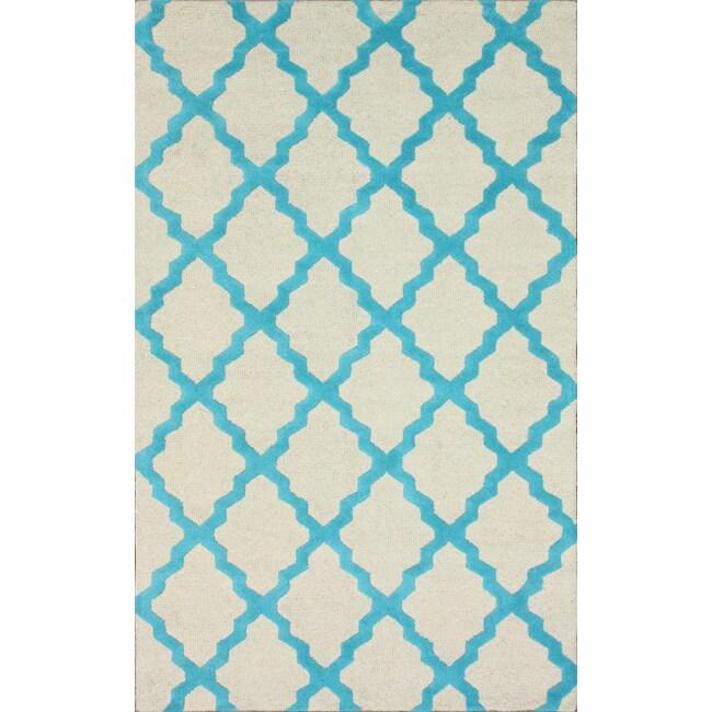 Hand-hooked Alexa Moroccan Trellis Turquoise Wool Rug (7'6 x 9'6) - 7'6 x 9'6